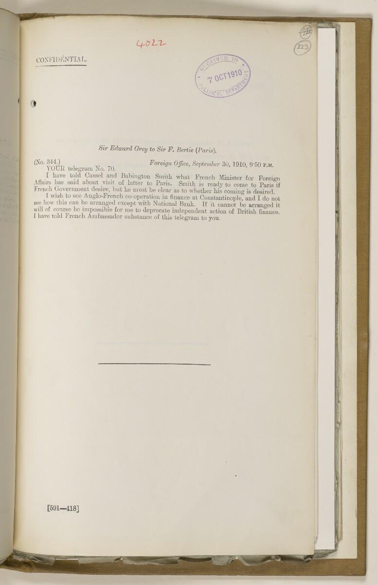 File 2764/1904 Pt 3 'Baghdad Railway: general negotiations 1910-1912.' [223r] (456/544)