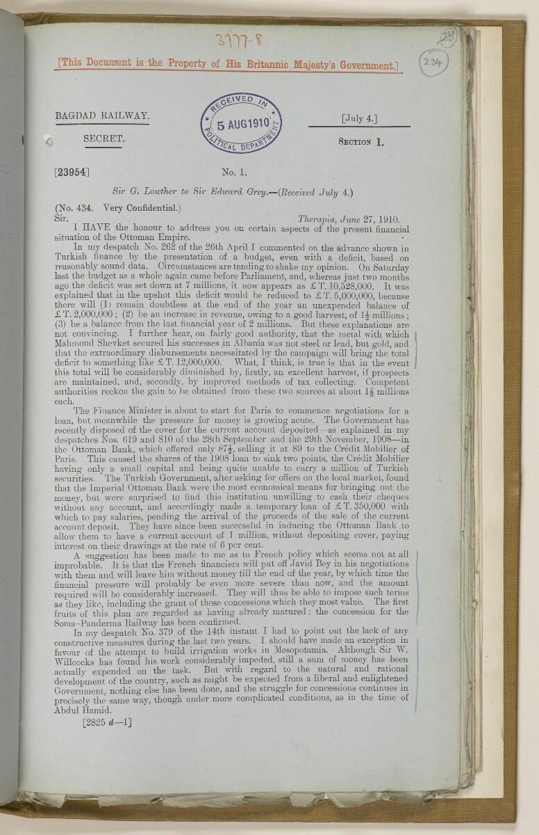 File 2764/1904 Pt 3 'Baghdad Railway: general negotiations 1910-1912.' [234r] (478/544)