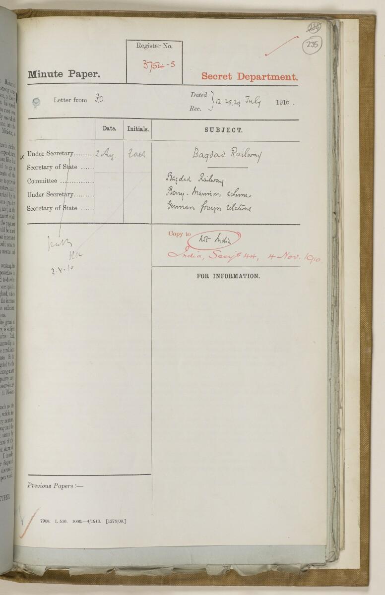 File 2764/1904 Pt 3 'Baghdad Railway: general negotiations 1910-1912.' [235r] (480/544)