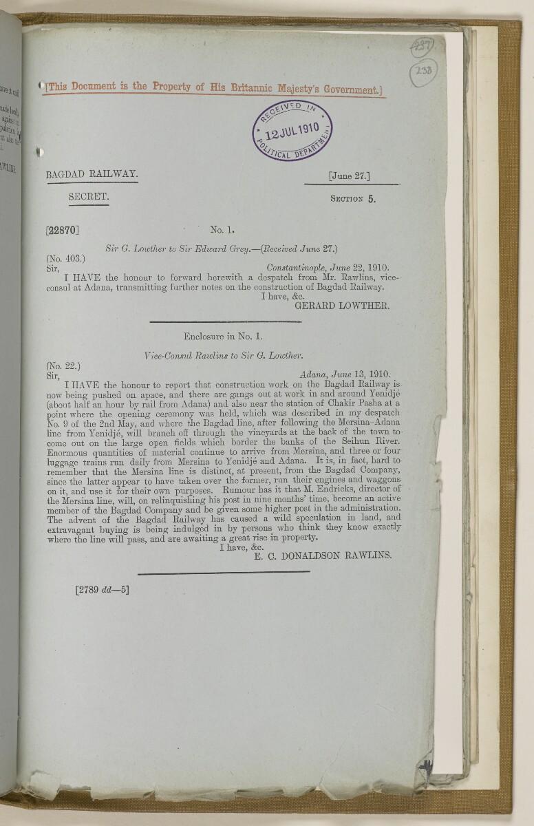 File 2764/1904 Pt 3 'Baghdad Railway: general negotiations 1910-1912.' [238r] (486/544)