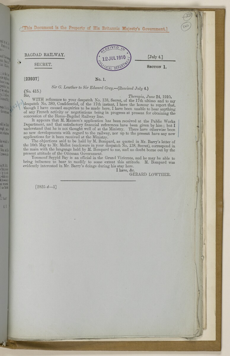 File 2764/1904 Pt 3 'Baghdad Railway: general negotiations 1910-1912.' [‎240r] (490/544)