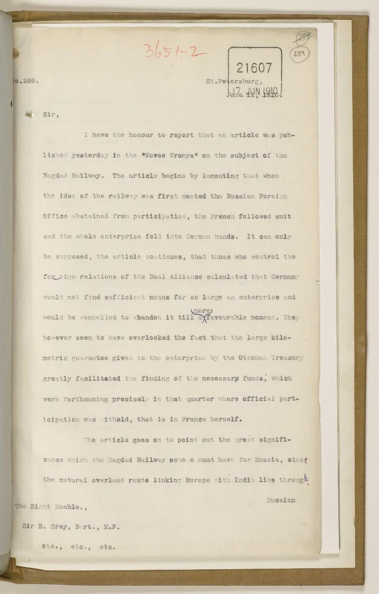 File 2764/1904 Pt 3 'Baghdad Railway: general negotiations 1910-1912.' [259r] (528/544)