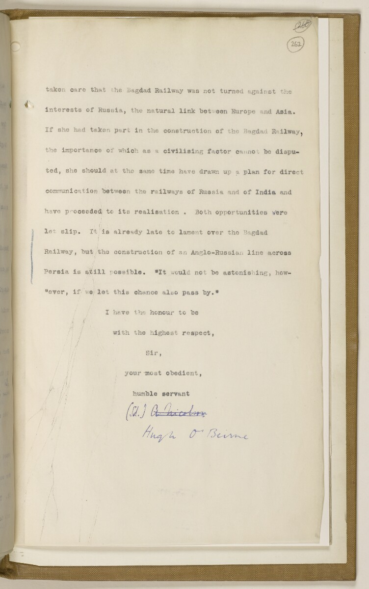 File 2764/1904 Pt 3 'Baghdad Railway: general negotiations 1910-1912.' [262r] (534/544)