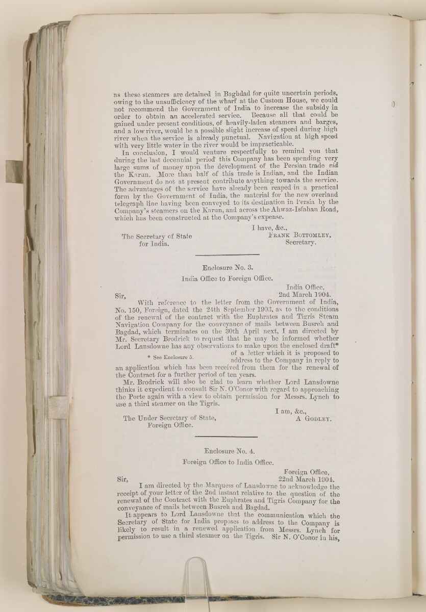 File 3531/1905 Pt 1 'Mesopotamia:- Euphrates + Tigris S. N. Co.; Mail contract' [319v] (8/148)
