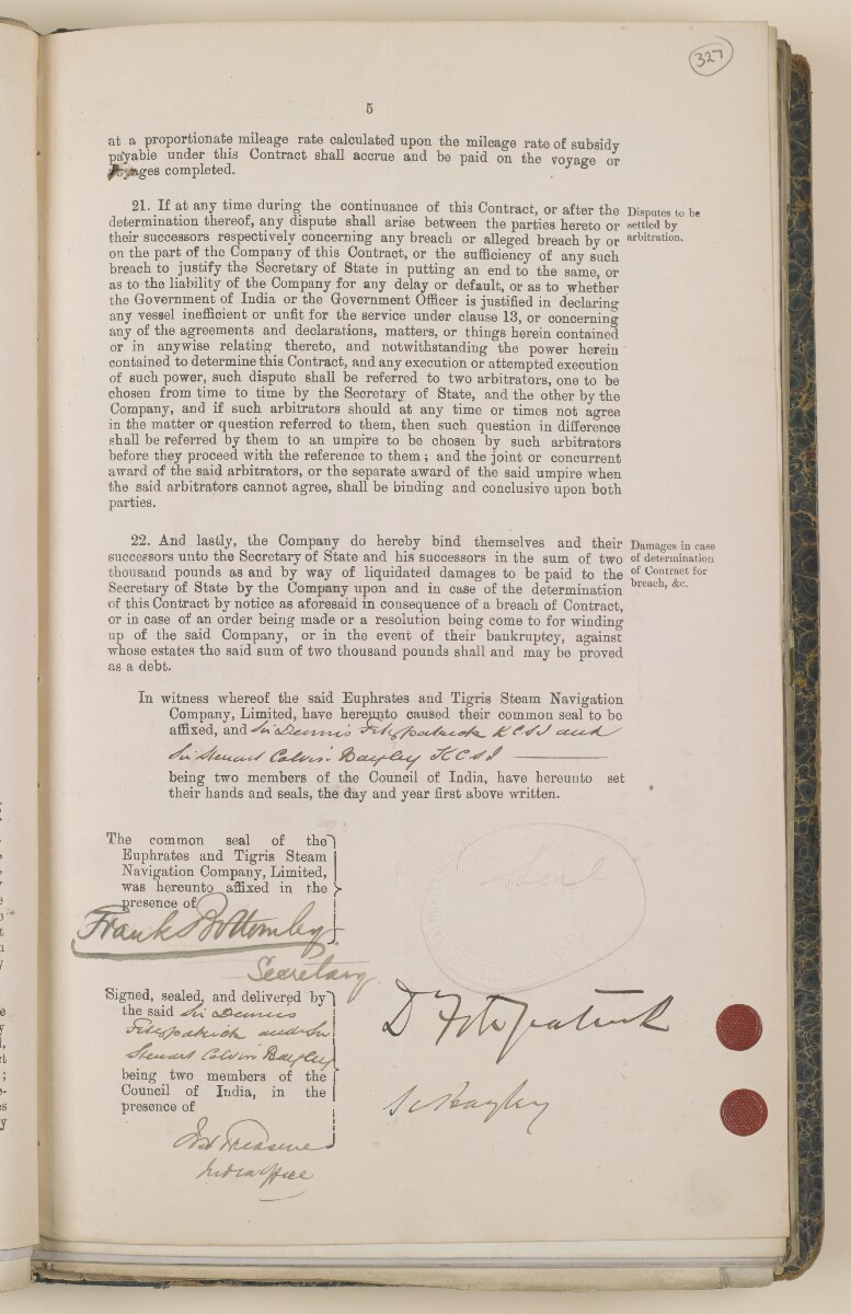 File 3531/1905 Pt 1 'Mesopotamia:- Euphrates + Tigris S. N. Co.; Mail contract' [‎327r] (23/148)