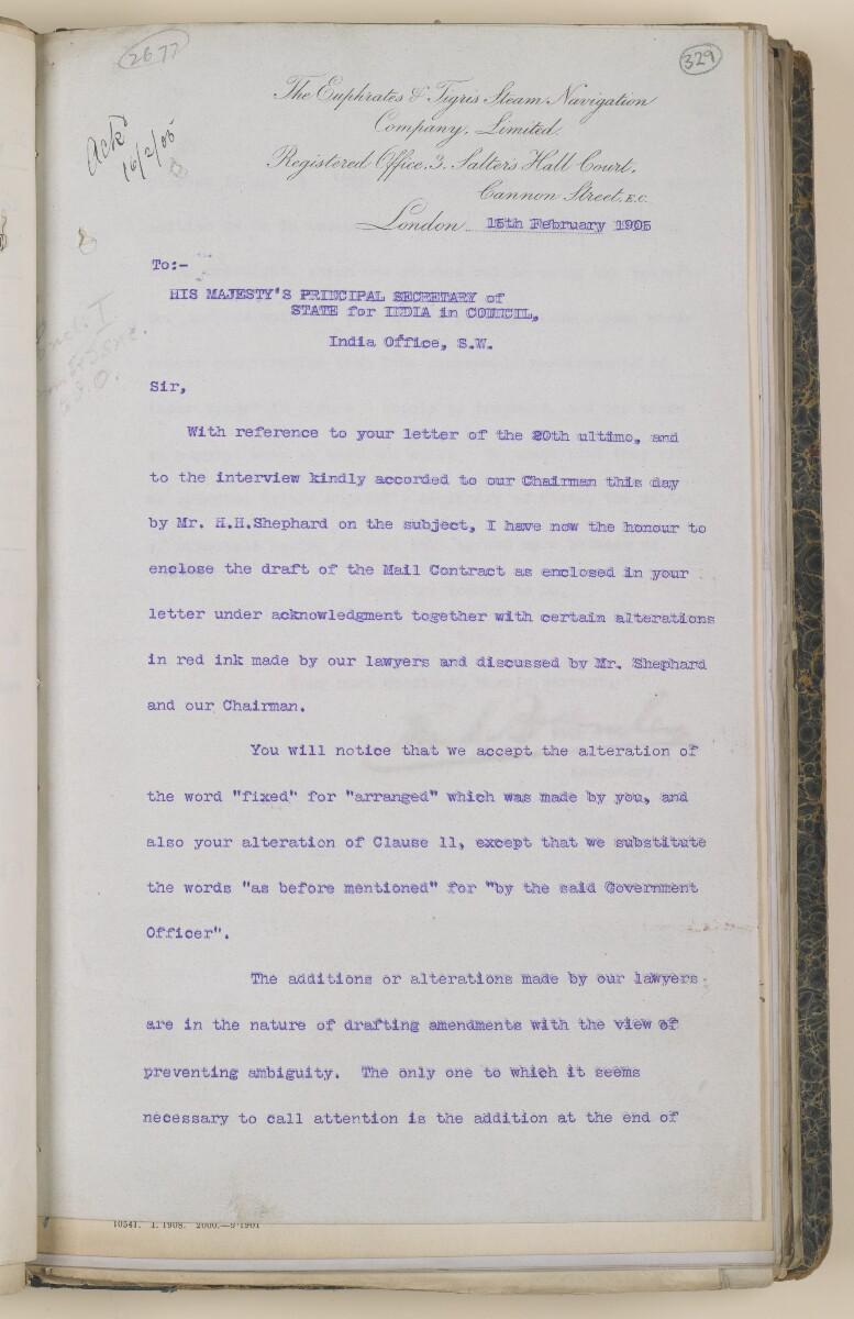 File 3531/1905 Pt 1 'Mesopotamia:- Euphrates + Tigris S. N. Co.; Mail contract' [329r] (27/148)