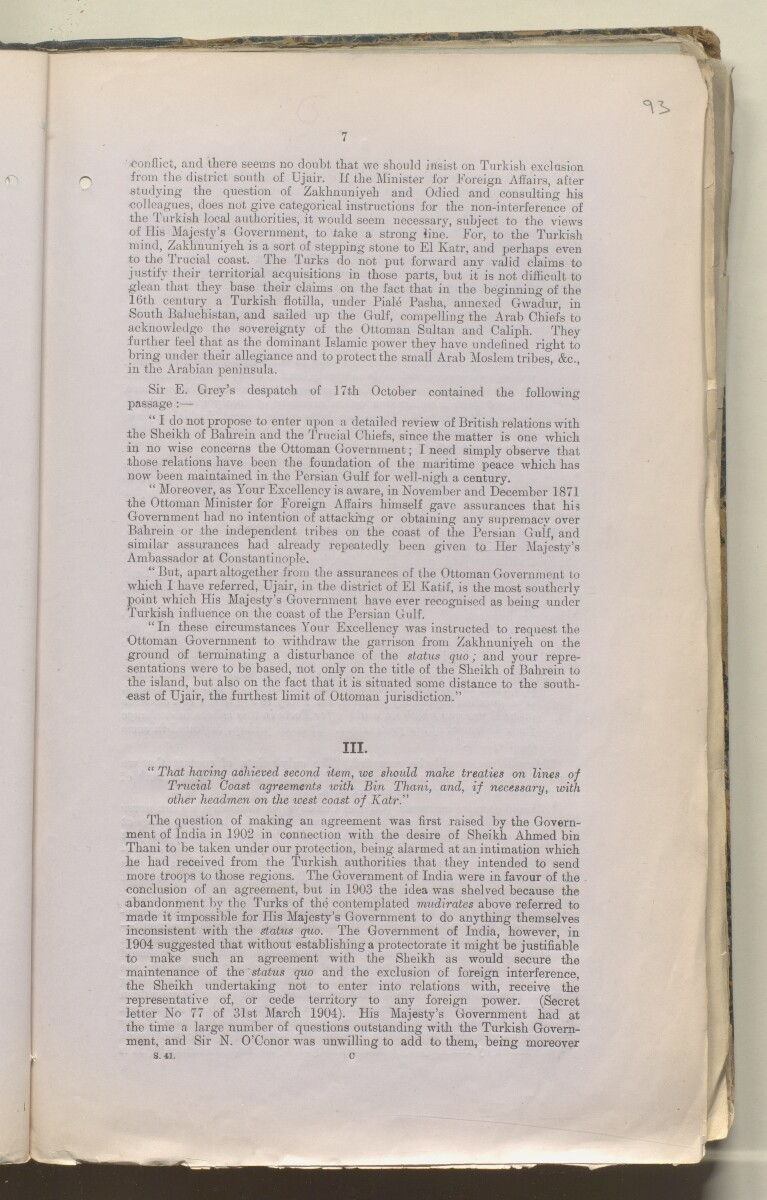 File 757/1909 'Persian Gulf:- Turkey and Turkish aggression (Occupation of Zakhnuniyeh Island. Attitude in piracy cases. Mudirs at Zubara, Odaid and Wakra) British Relations with Turkey in Persian Gulf' [‎95r] (194/495)