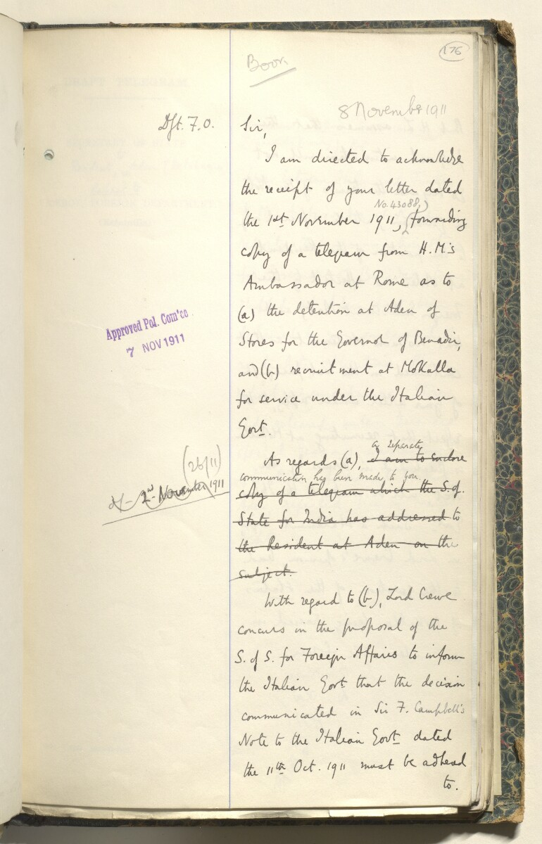 File 21/1911 Pt 1 'Aden Protectorate:- Italian & French recruitment of Arabs.' [176r] (145/270)