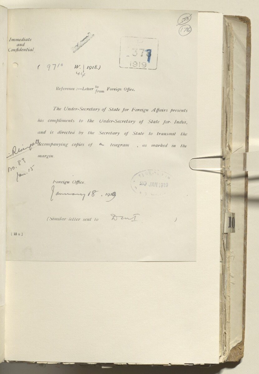 File 2182/1913 Pt 9 'Arabia Policy towards Bin Saud' [‎176r] (349/406)