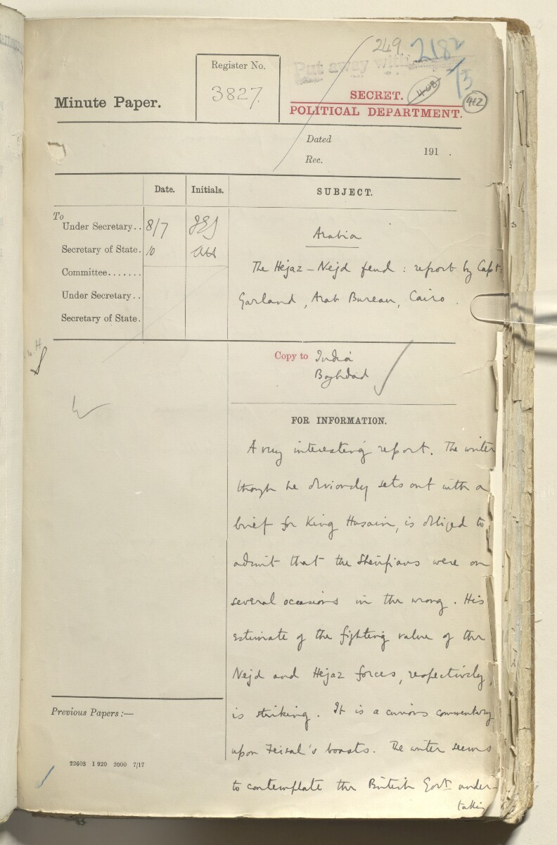 File 2182/1913 Pt 10 'N.W. Frontier: Proposed Russian zoological expedition' [412r] (415/664)
