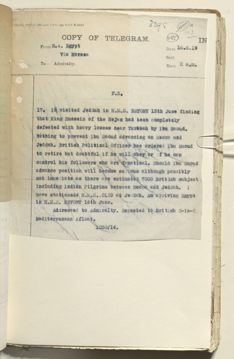 File 2182/1913 Pt 10 'N.W. Frontier: Proposed Russian zoological expedition' [485r] (562/664)