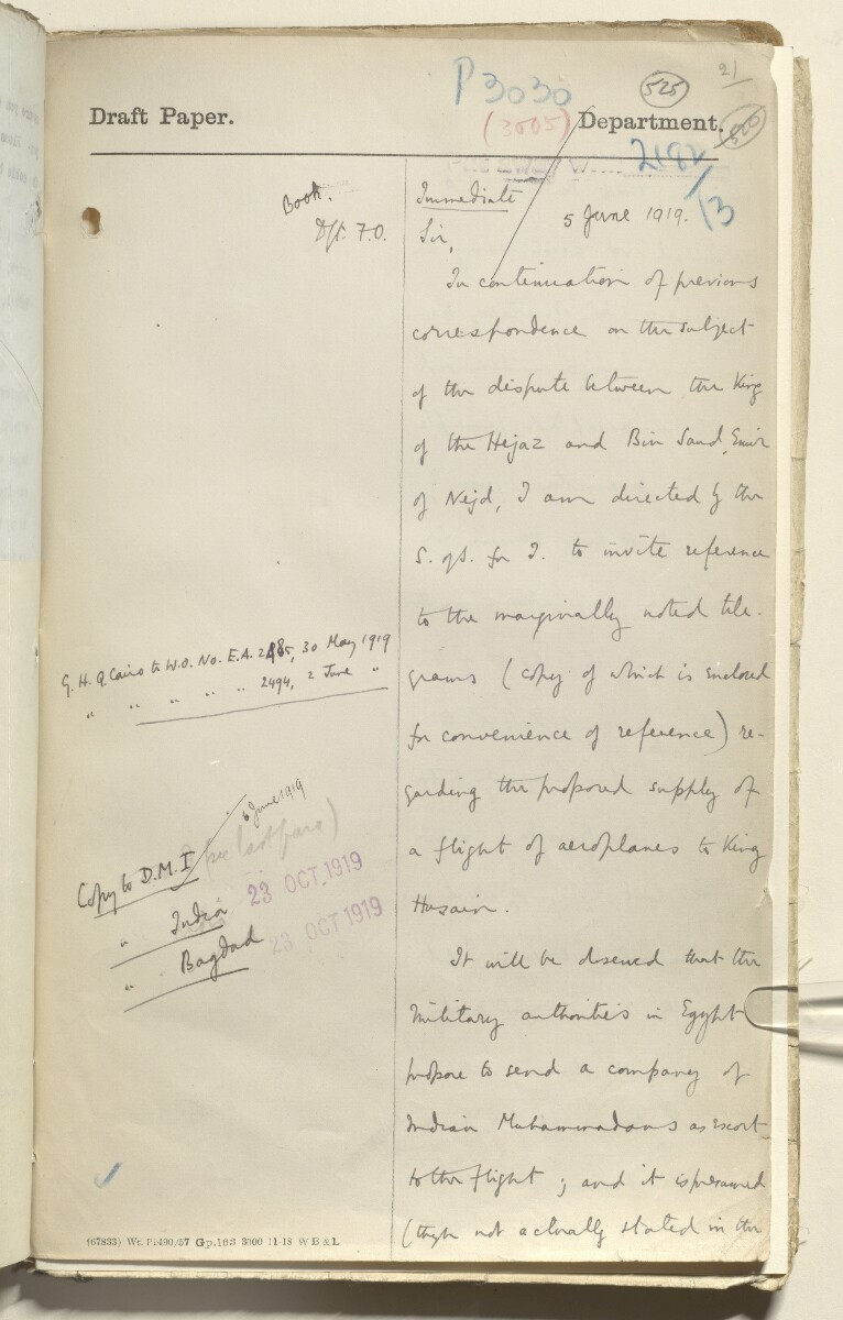 File 2182/1913 Pt 10 'N.W. Frontier: Proposed Russian zoological expedition' [525r] (644/664)
