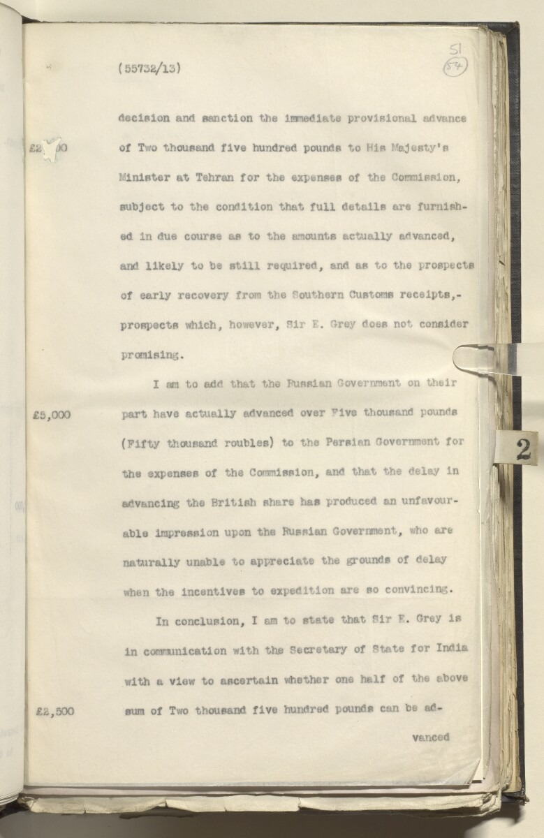 File 4880/1913 Pt 1 'Turco-Persian Frontier Commission: proposed joint Anglo-Russian loan; Persia to meet expenses' [54r] (112/137)