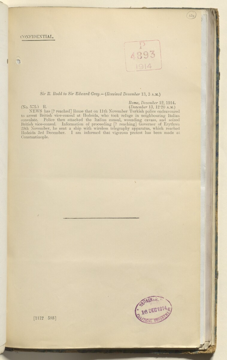 File 3136/1914 Pt 5 'German War. Turkey. Hodeida consuls incident' [‎124r] (256/336)