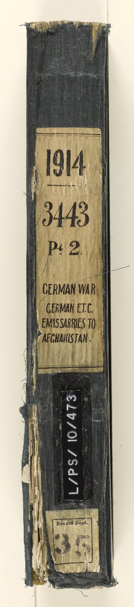 File 3443/1914 Pt 2 'German War: German emissaries to Afghanistan' [‎spine] (3/490)