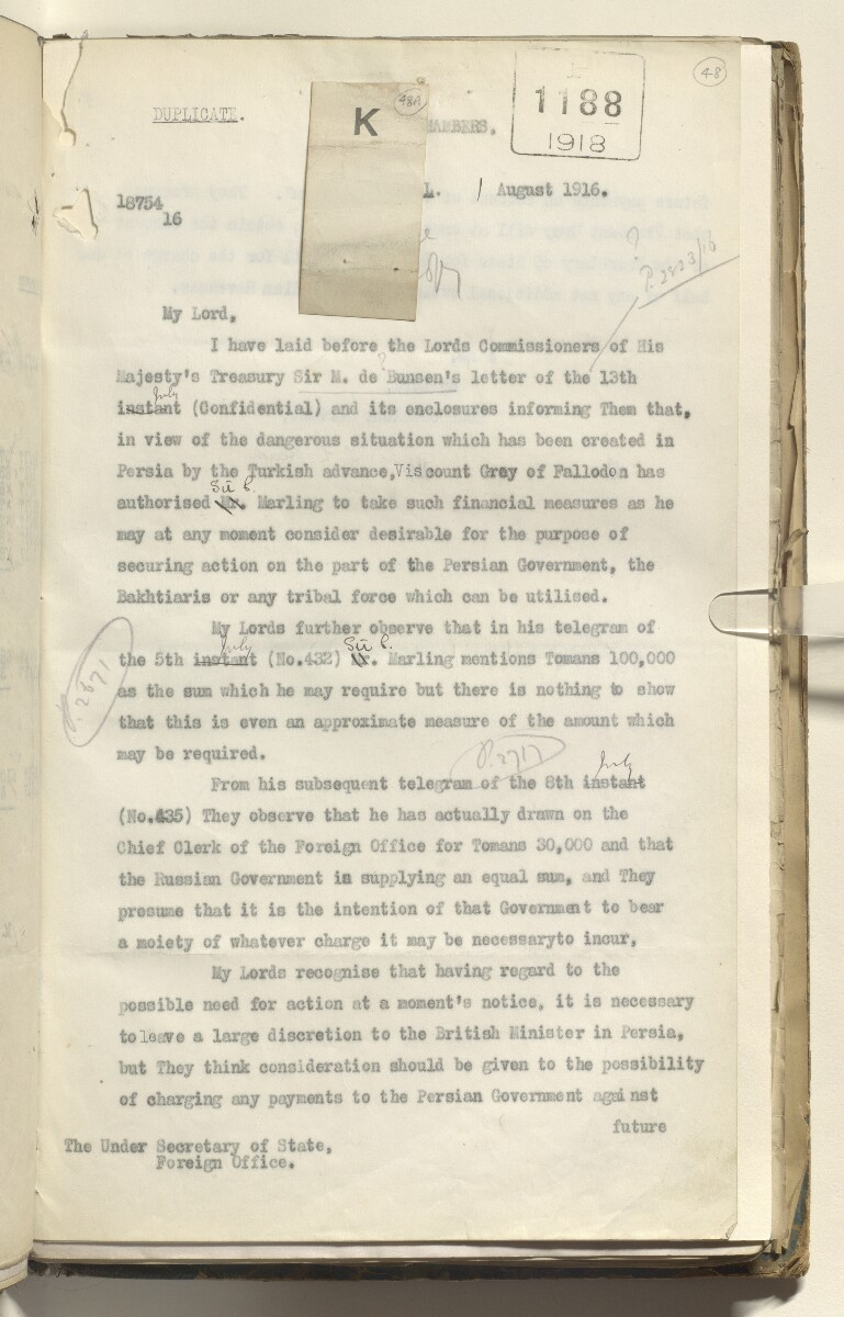 File 3516/1914 Pt 13 'German War: Persia; Saulet and Kawain; quarterly adjustment with Foreign Office' [‎48ar] (101/406)