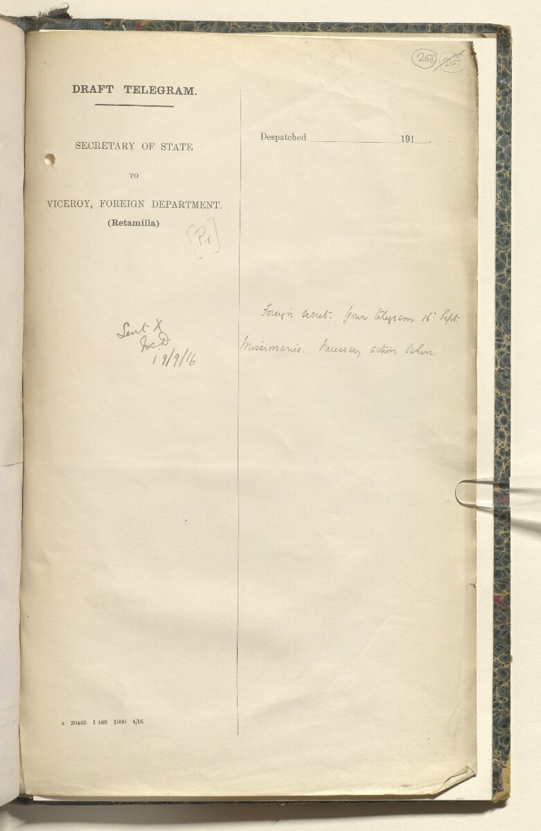 File 3816/1916 'Persia. As to allowing English ladies to proceed to Persia' [268r] (547/553)