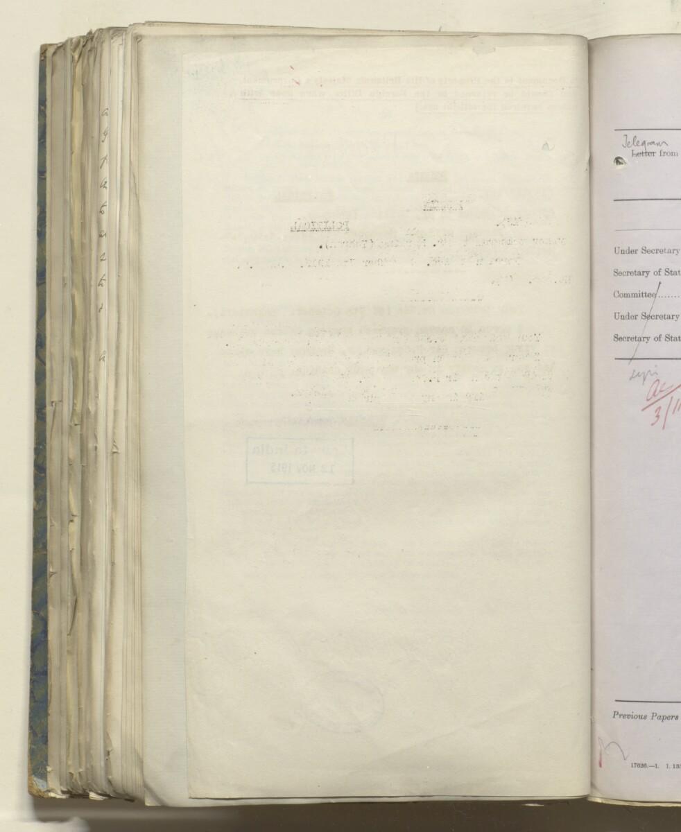 File 469/1917 Pt 1 'Persia: Bakhtiari affairs' [216v] (444/535)