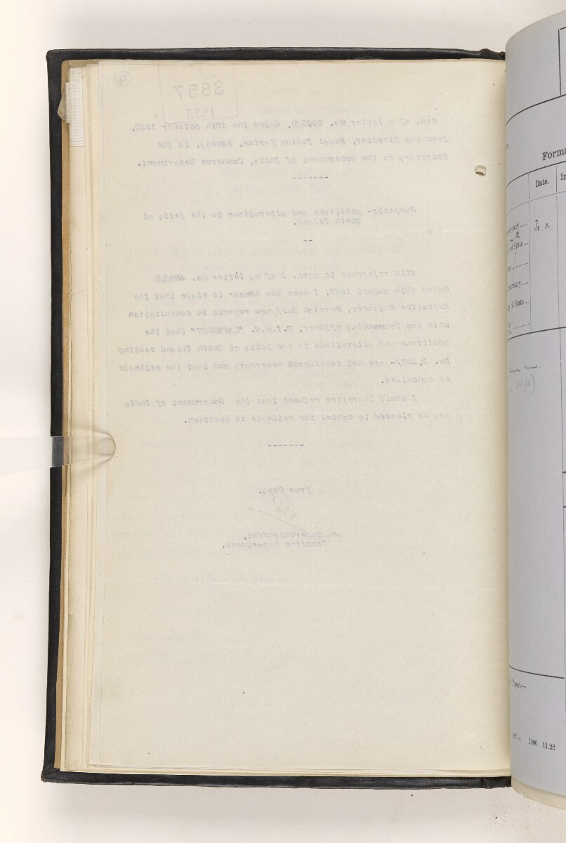 File 815/1917 Pt 3 'Persian Gulf:- Lighting & Buoying. Repairs to Lighthouse buildings at Quoin Island & Tamb Island.' [13v] (22/173)