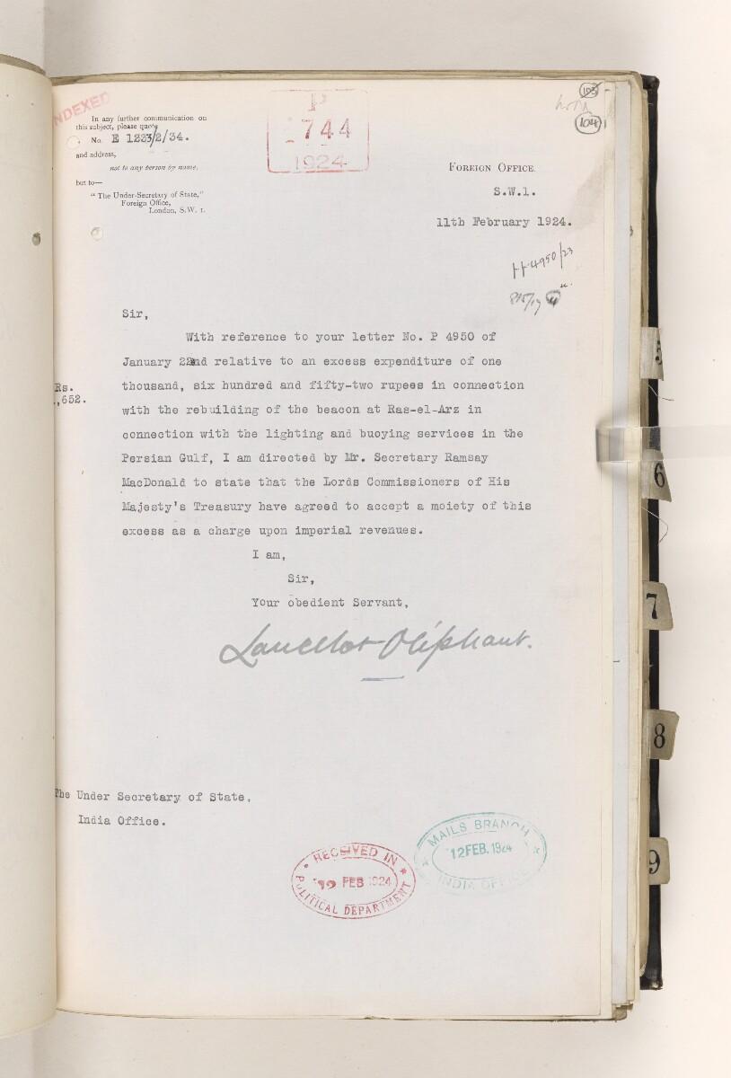 File 815/1917 Pt 4 'Persian Gulf:- Lighting & Buoying. Beacon at Ras-al-Arz.' [104r] (29/56)