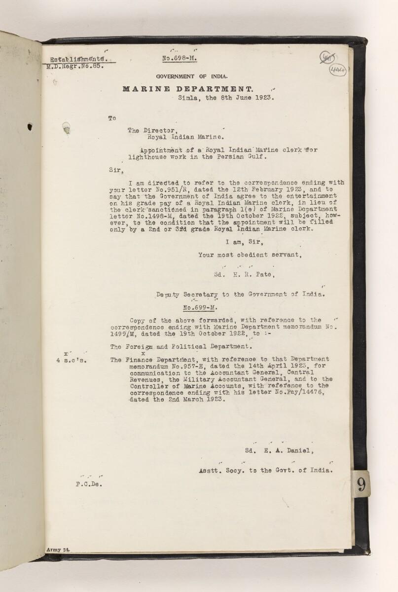 File 815/1917 Pt 8 'Persian Gulf:- Lighting & Buoying. Reorganisation of the Persian Gulf Light Service.' [444r] (19/42)