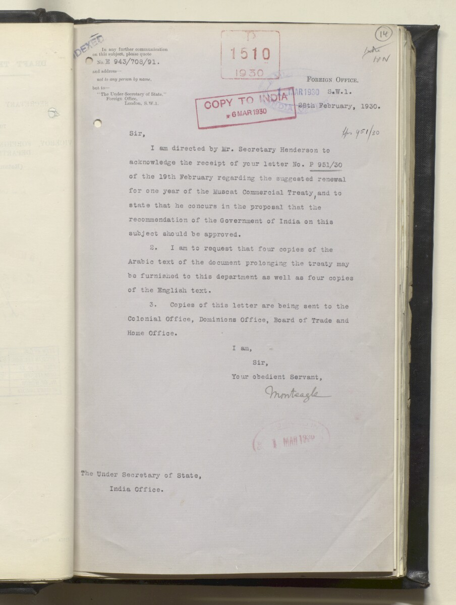 File 638/1919 'Muscat:- Commercial Treaty with Gt. Britain – Prolongation of.' [‎14r] (32/488)