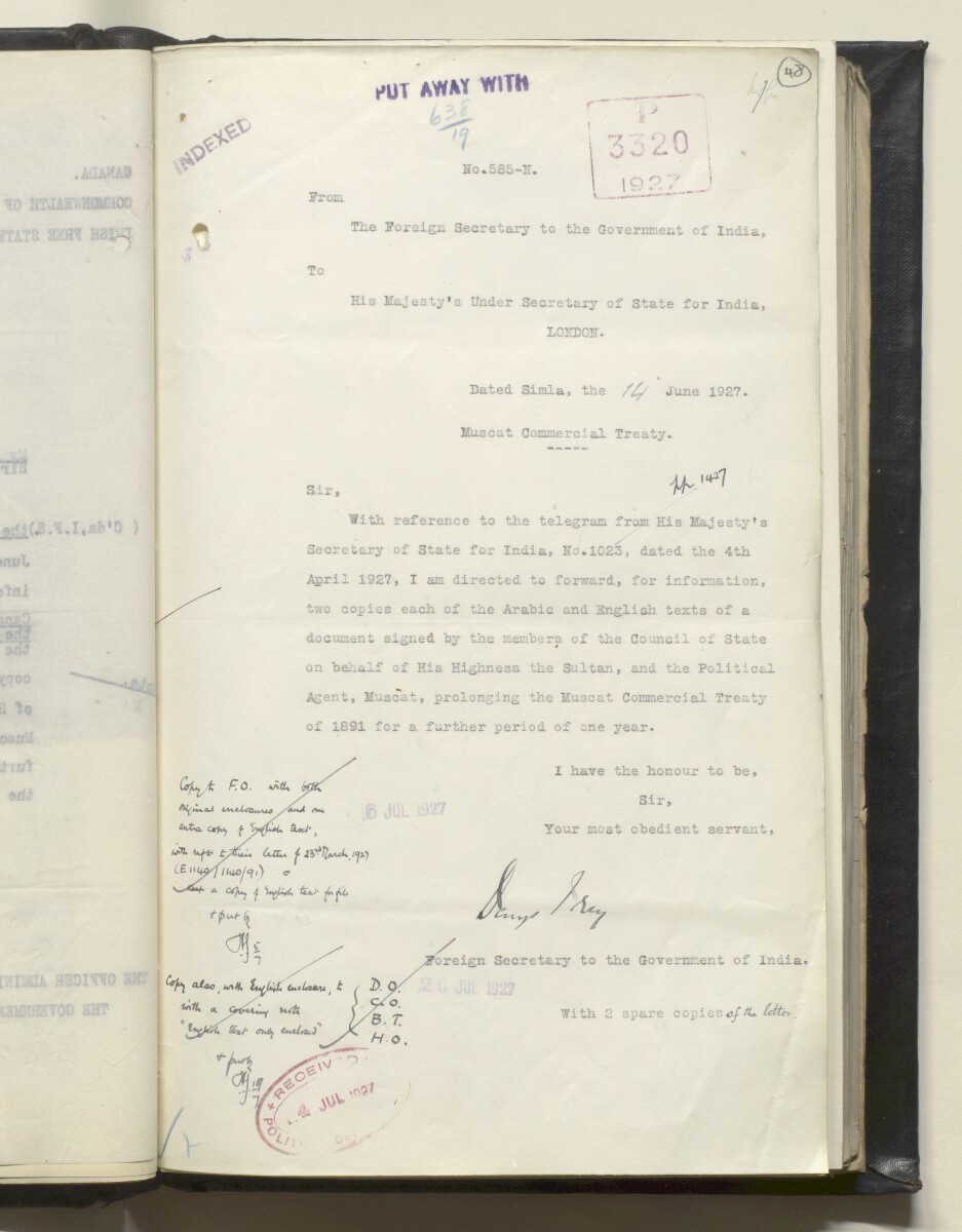 File 638/1919 'Muscat:- Commercial Treaty with Gt. Britain – Prolongation of.' [‎48r] (100/488)