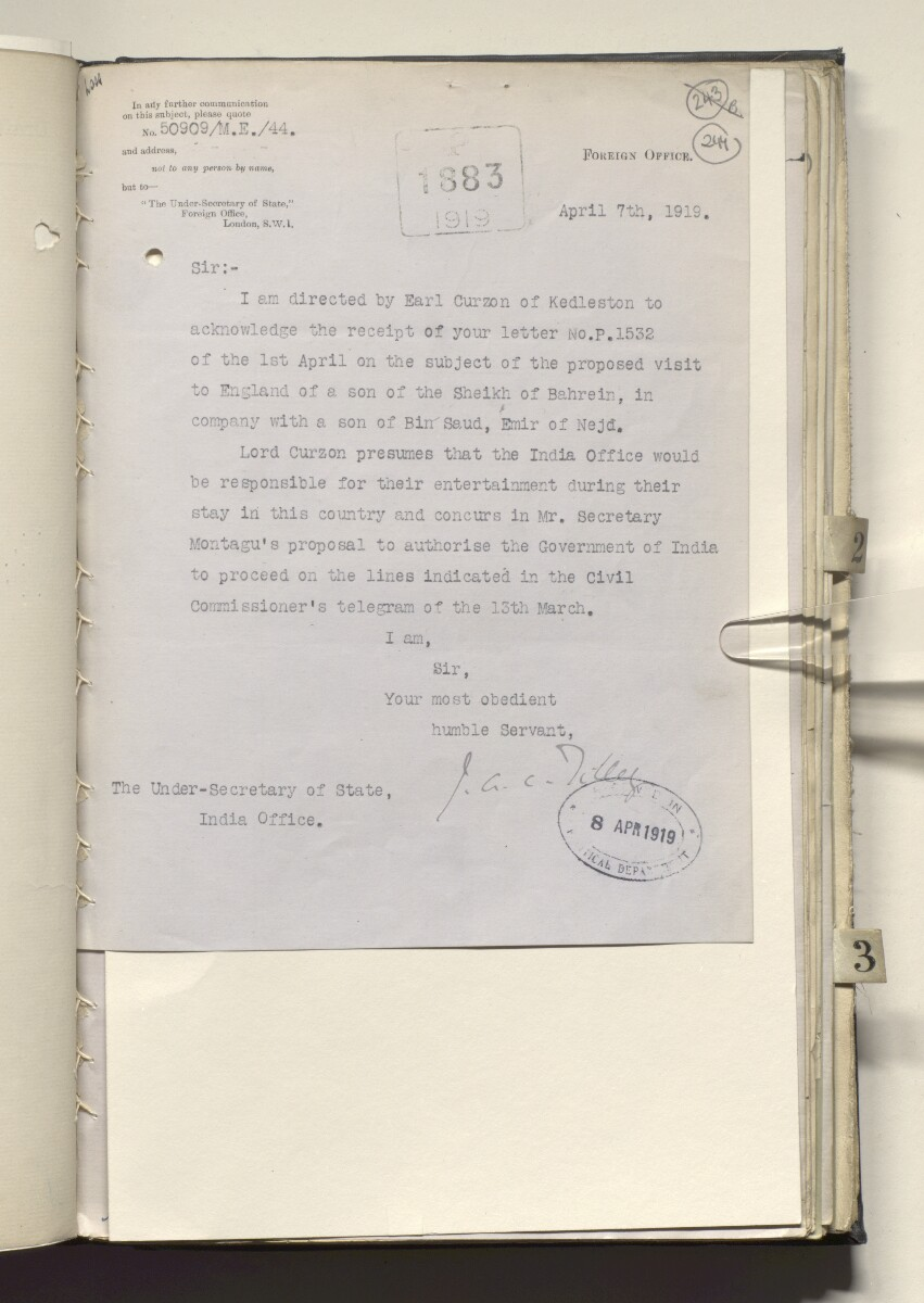 File 4673/1919 Pt 1 'Persian Gulf:- Visit to England of the son of the Sheikh of Bahrein + party. General arrangements + proceedings. Incidence of cost.' [244r] (465/494)