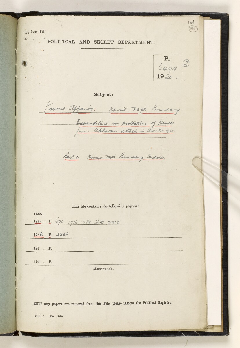File 6499/1920 Pt 2 'Kuwait affairs: Kuwait-Nejd boundary; expenditure on protection of Kuwait from Akhwan attack in Oct-Nov 1920' [152r] (3/52)
