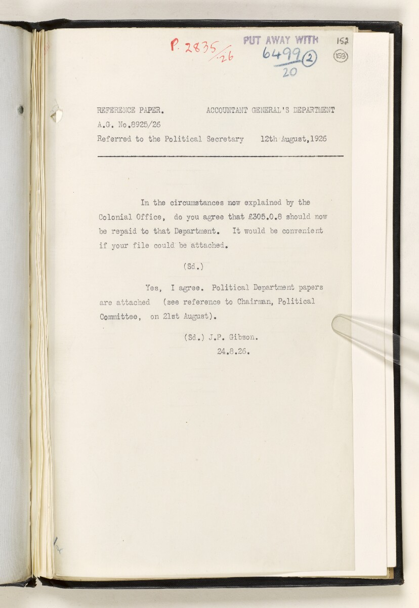 File 6499/1920 Pt 2 'Kuwait affairs: Kuwait-Nejd boundary; expenditure on protection of Kuwait from Akhwan attack in Oct-Nov 1920' [153r] (5/52)
