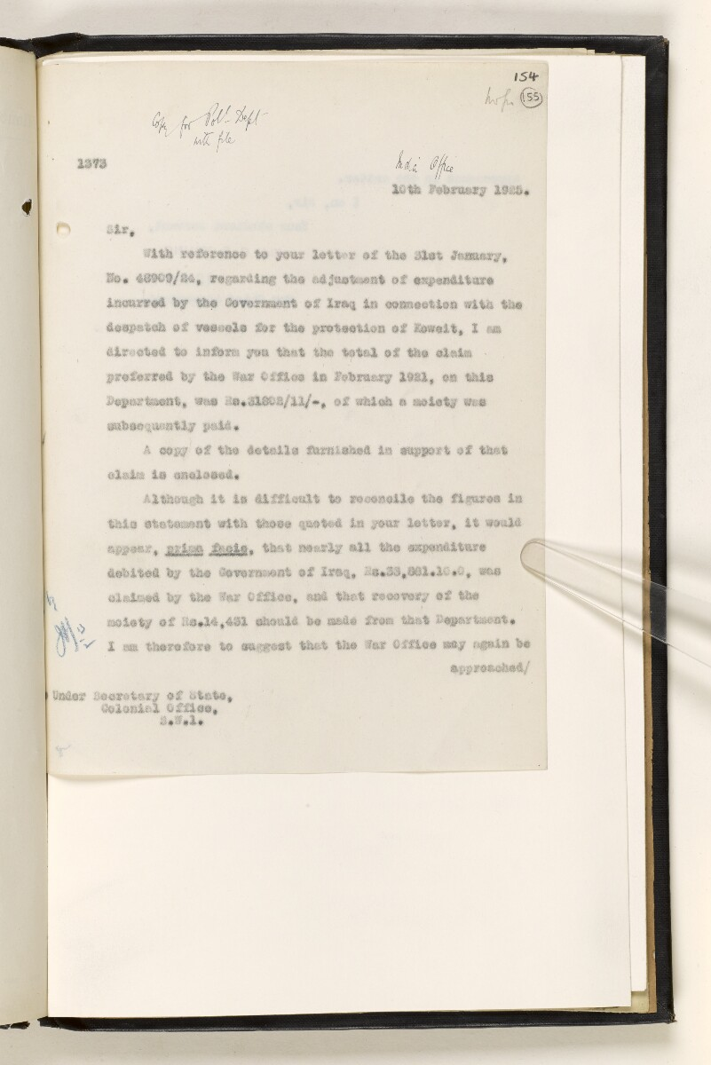 File 6499/1920 Pt 2 'Kuwait affairs: Kuwait-Nejd boundary; expenditure on protection of Kuwait from Akhwan attack in Oct-Nov 1920' [155r] (9/52)