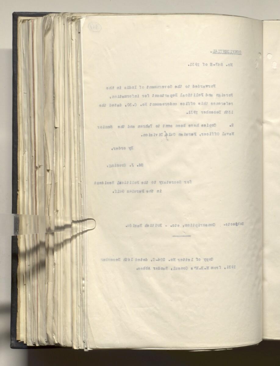 File 4011/1923 Pt 1 'PERSIAN GULF NEGOTIATIONS 1928-33. BASIDU.' [317v] (639/1306)