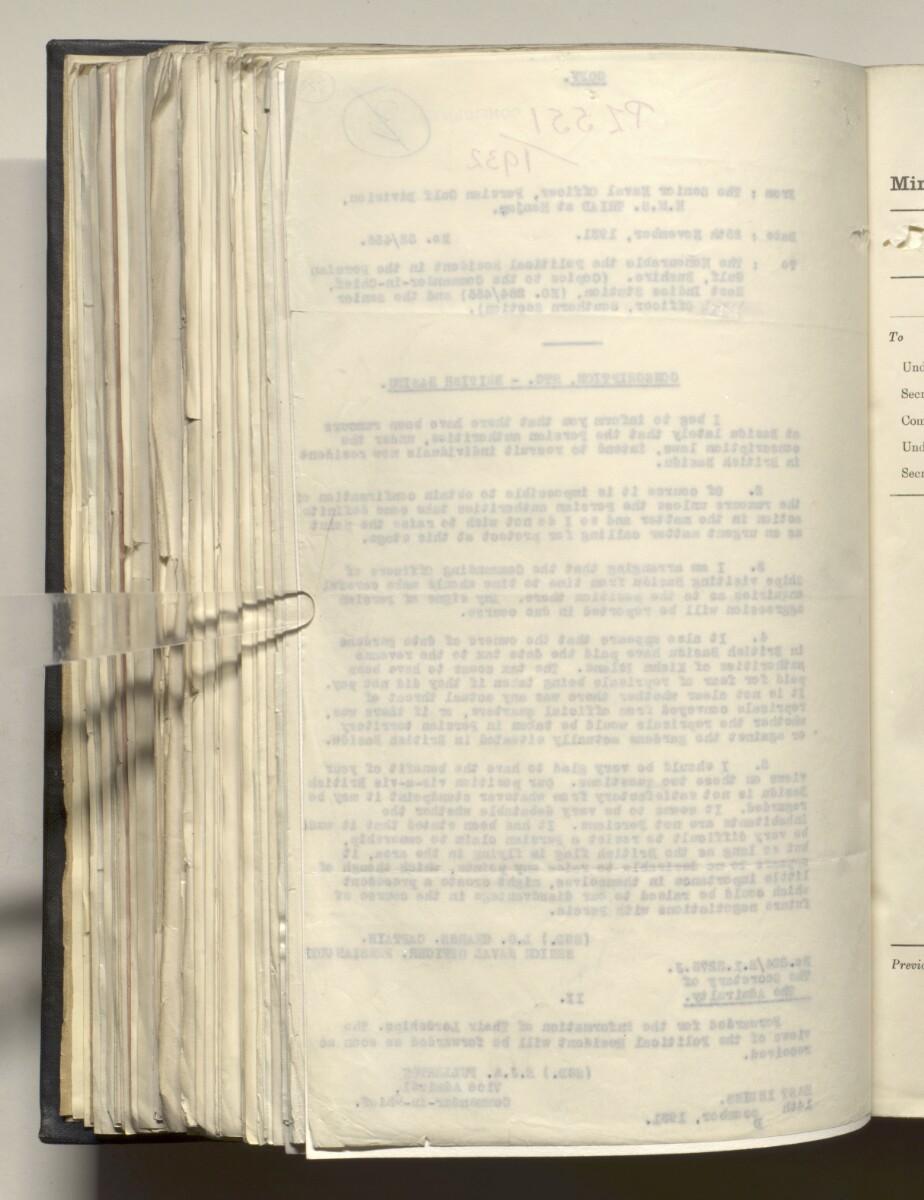 File 4011/1923 Pt 1 'PERSIAN GULF NEGOTIATIONS 1928-33. BASIDU.' [322v] (649/1306)