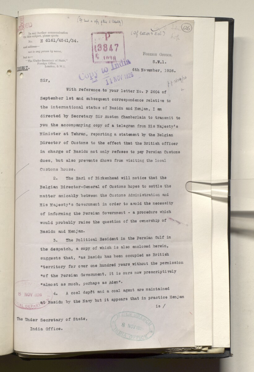 File 4011/1923 Pt 1 'PERSIAN GULF NEGOTIATIONS 1928-33. BASIDU.' [‎626r] (1256/1306)