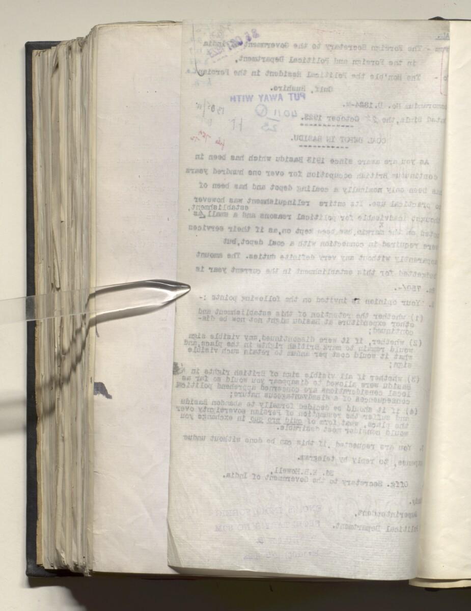 File 4011/1923 Pt 1 'PERSIAN GULF NEGOTIATIONS 1928-33. BASIDU.' [647v] (1299/1306)