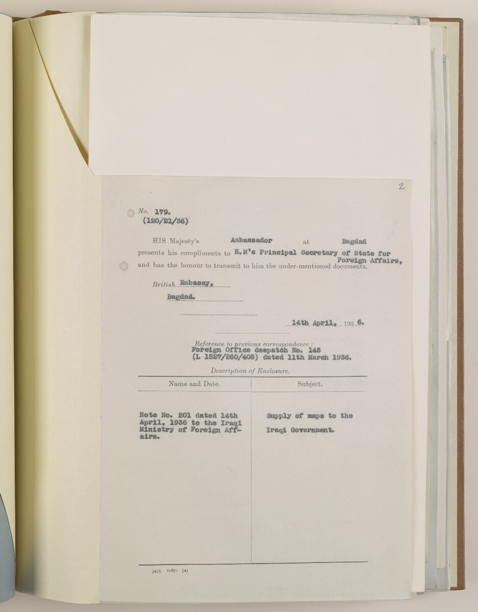 PZ 6642/35 Supply of certain War Office and Survey of India maps to the government of Iraq for reprinting in Arabic [2r] (3/50)