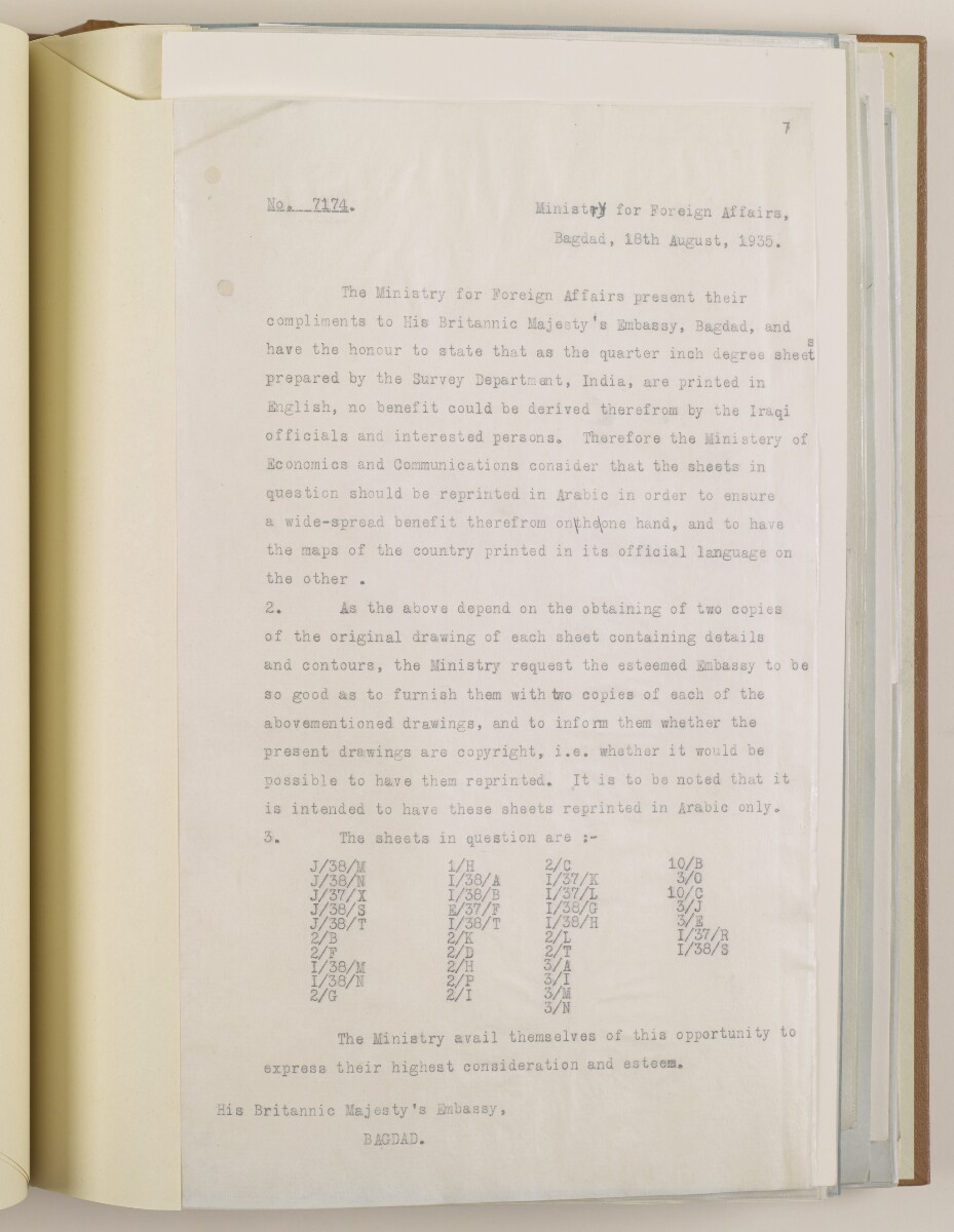 PZ 6642/35 Supply of certain War Office and Survey of India maps to the government of Iraq for reprinting in Arabic [7r] (13/50)