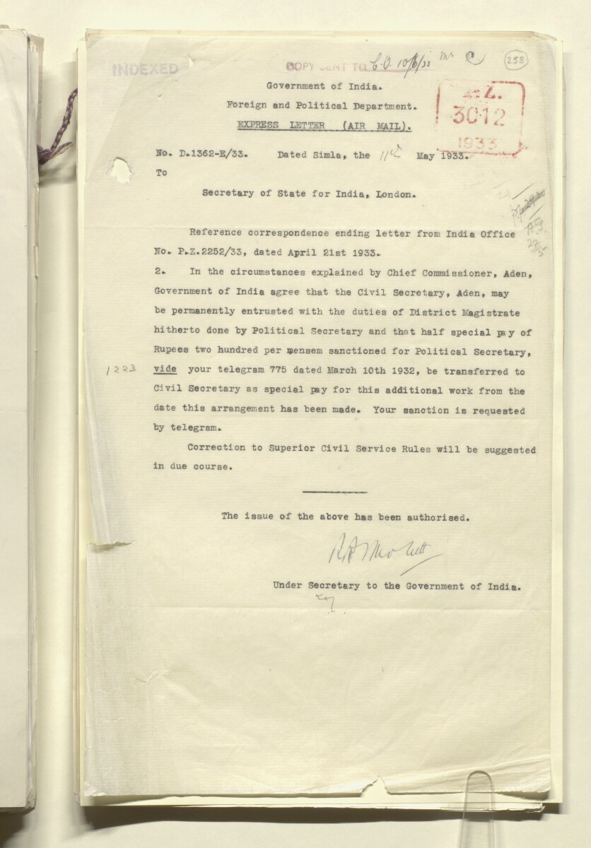 Coll 1/21 'The Resident: leave and acting arrangements; duties of Civil Secretary' [‎258r] (517/886)