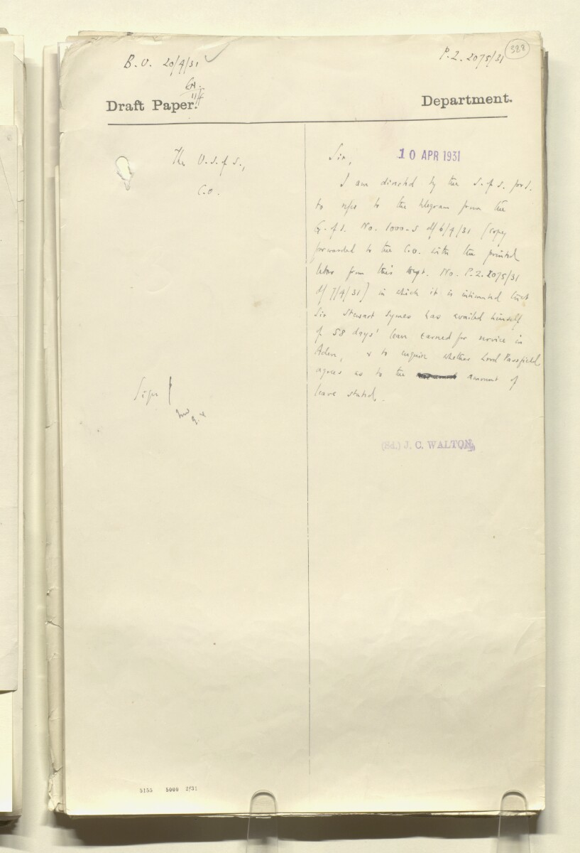 Coll 1/21 'The Resident: leave and acting arrangements; duties of Civil Secretary' [388r] (777/886)