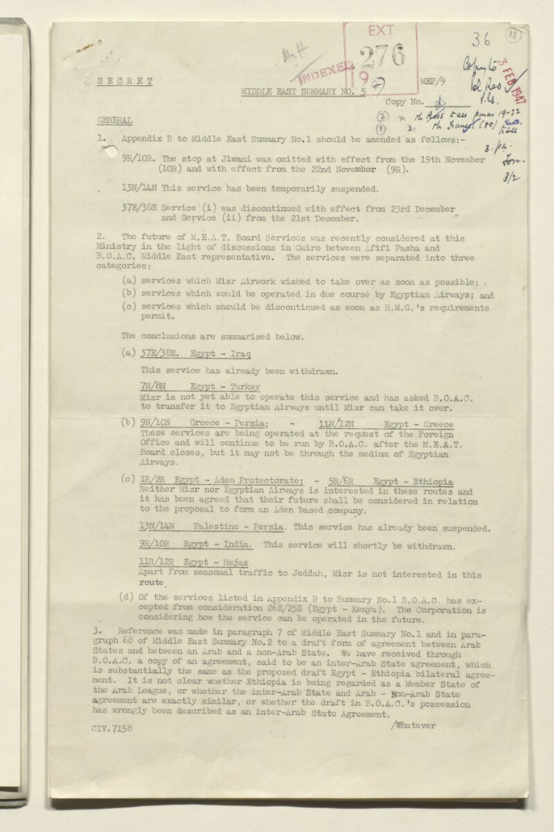 Coll 5/84(4) 'Middle East Summaries from Ministry of Civil