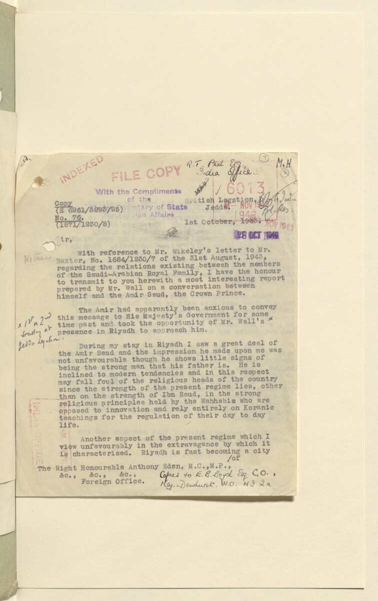 Coll 6/21(2) 'Saudi Arabia: Relations with H.M.G.: Saudi Legation in London and British Minister in Jeddah. Prolongation of Treaty of Jedda.' [7r] (13/761)