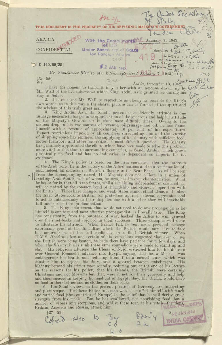 Coll 6/21(2) 'Saudi Arabia: Relations with H.M.G.: Saudi Legation in London and British Minister in Jeddah. Prolongation of Treaty of Jedda.' [10r] (19/761)