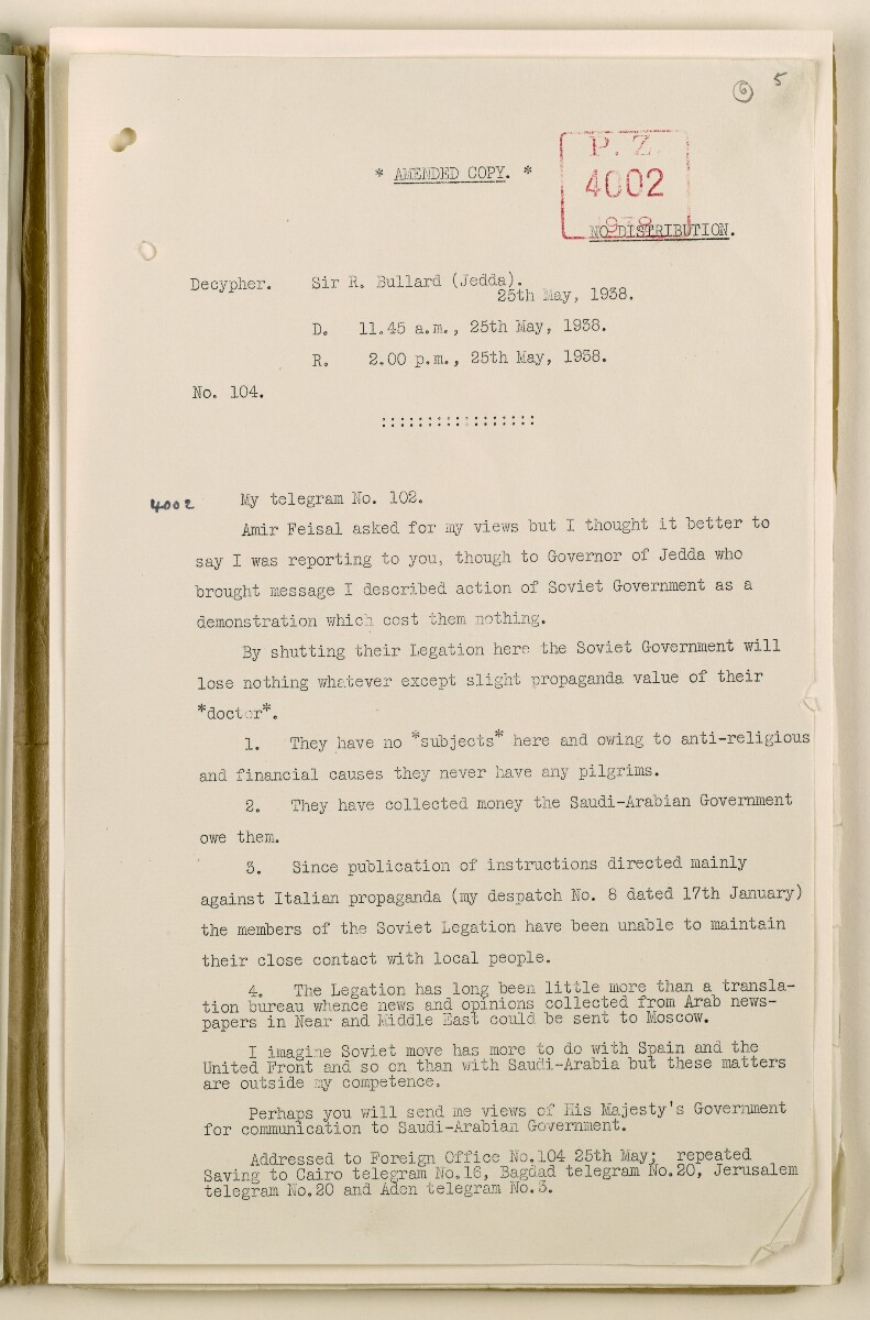 Coll 6/50 'Saudi Arabia: Saudi Relations with the Soviet.' [6r] (11/100)
