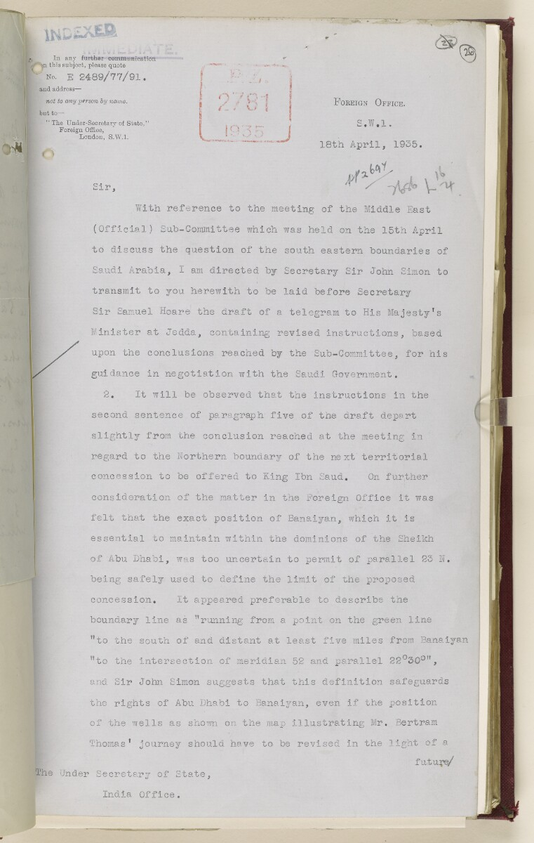 Coll 6/67(2) 'Boundaries of South-Eastern Arabia and Qatar.' [26r] (56/734)