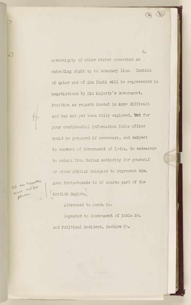 Coll 6/67(2) 'Boundaries of South-Eastern Arabia and Qatar.' [36r] (76/734)