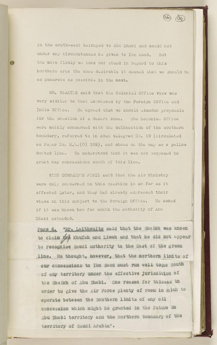 Coll 6/67(2) 'Boundaries of South-Eastern Arabia and Qatar.' [46r] (96/734)
