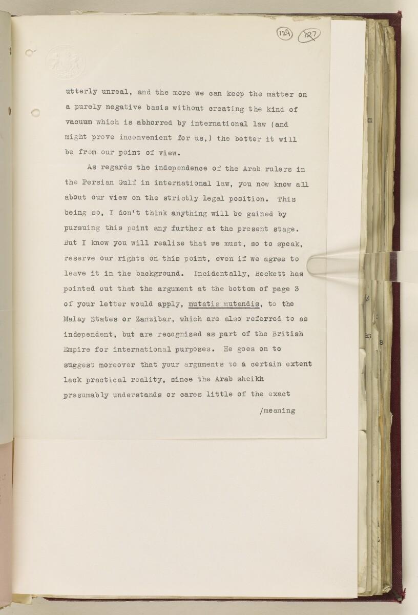 Coll 6/67(2) 'Boundaries of South-Eastern Arabia and Qatar.' [129r] (262/734)