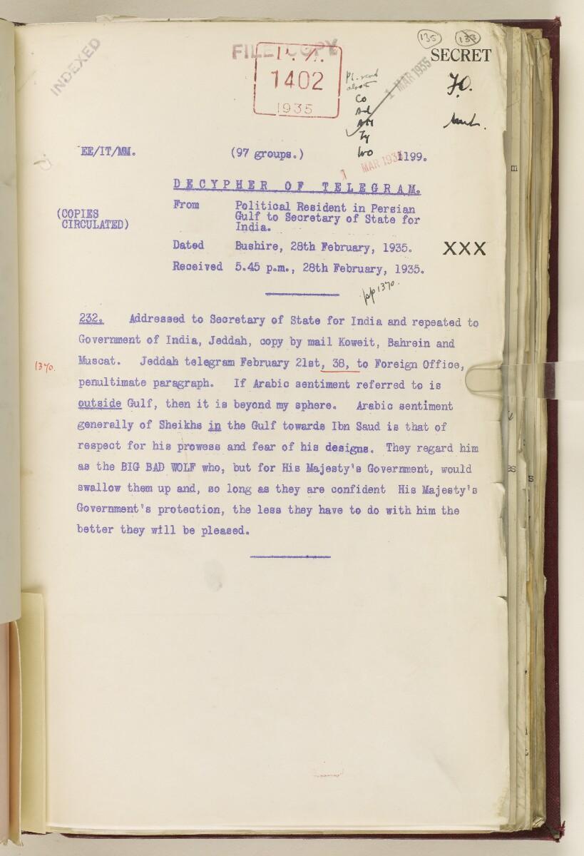 Coll 6/67(2) 'Boundaries of South-Eastern Arabia and Qatar.' [135r] (274/734)