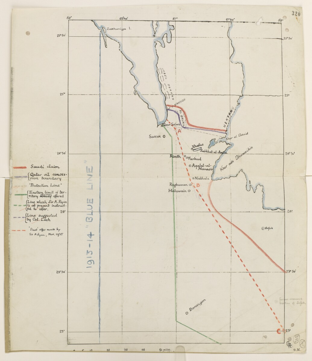 Sketch Map of the Eastern Part of the Arabian Peninsula [393r] (1/2)