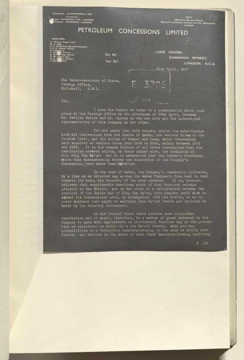 Coll 6/67(6) 'Boundaries of South-Eastern Arabia and Qatar: Trucial Coast Oil Concessions' [52r] (110/402)